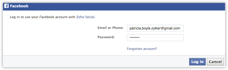 Integrate Facebook with Social Tab in Zoho