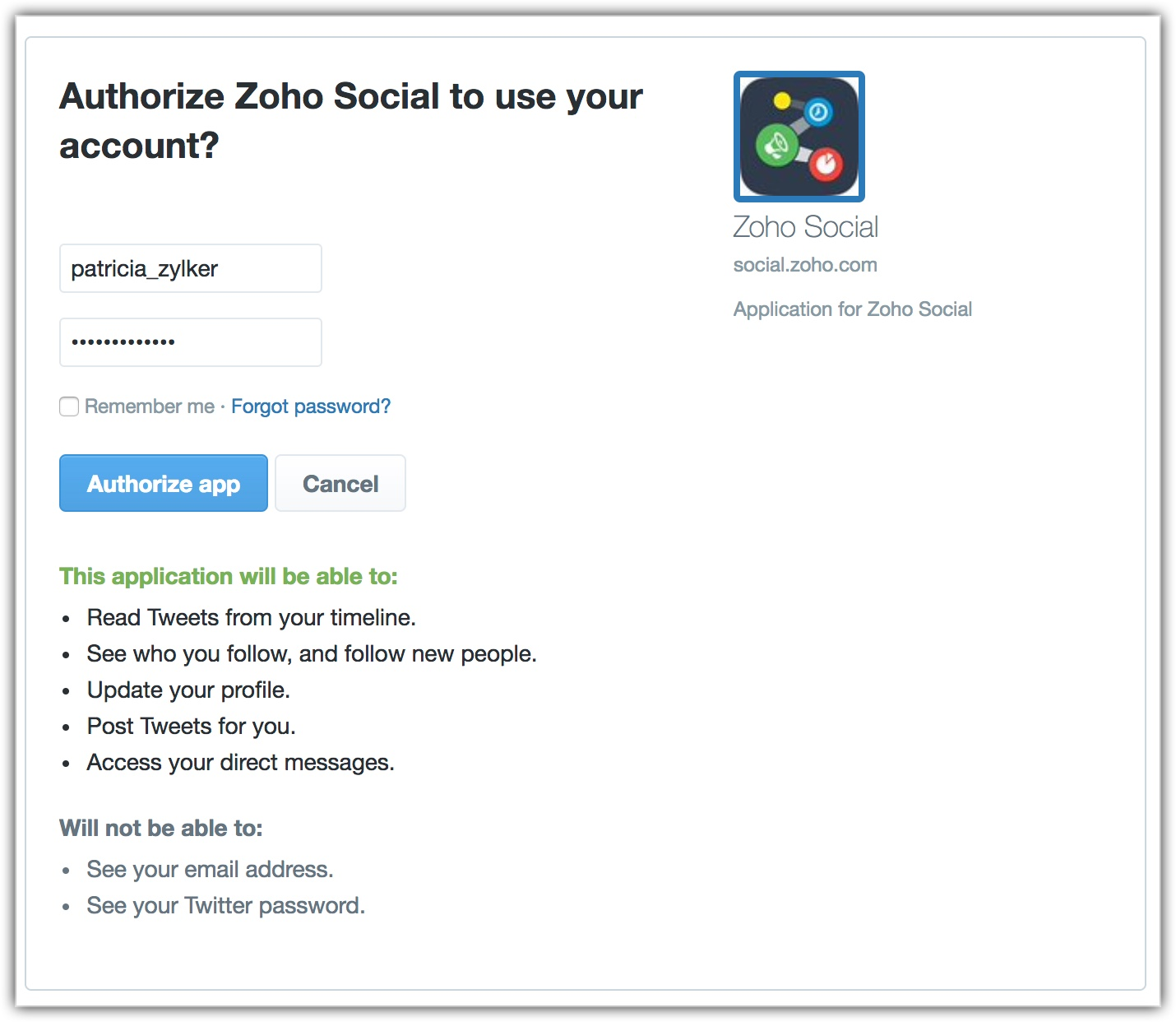 Authorize Zoho Social to use your Account