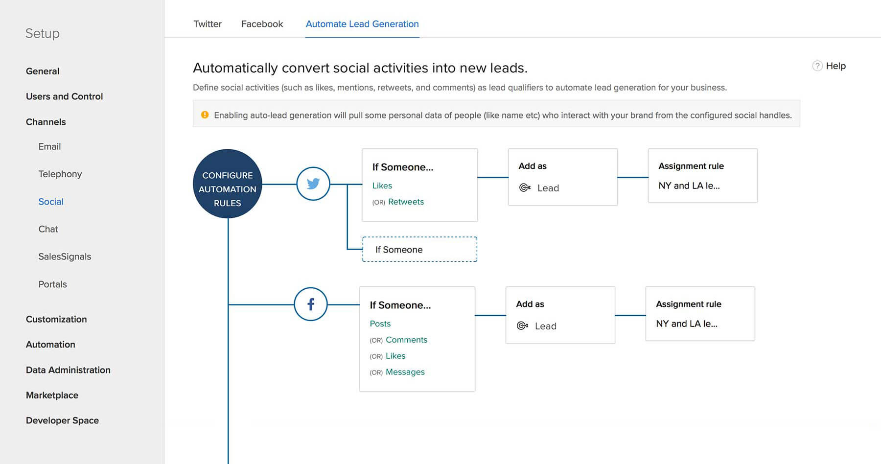 Zoho Social: Automatic Lead Generation