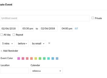 Zoho Mail: Create Event