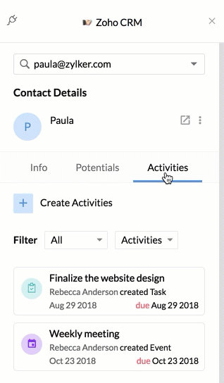 Zoho Mail Integration with Zoho CRM