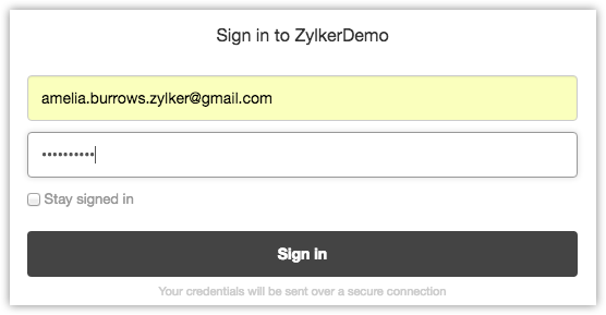 Sign in to Zoho CRM to install Zendesk