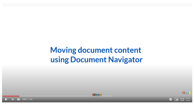 Moving Document Content using Document Navigator