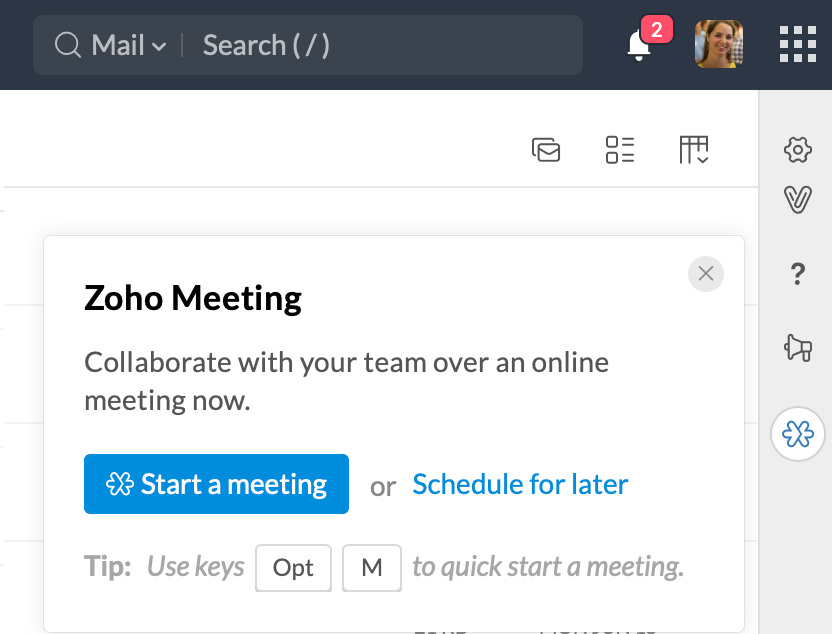 Zoho Meeting Integration in Zoho Mail